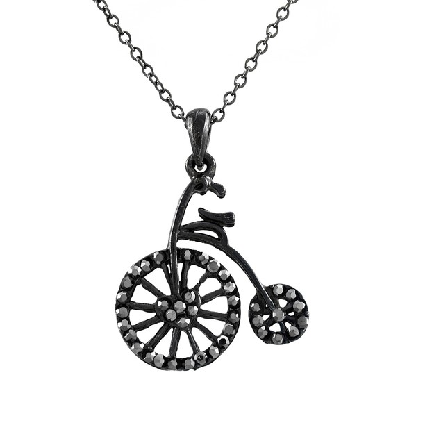 Gunmetal Antique Bicycle Necklace With Hematite Chain Necklaces