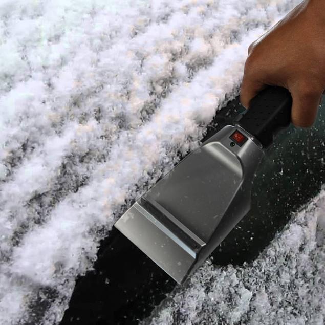 Heated Ice/Snow Scraper w/ Anti Scratch Rubber Guard