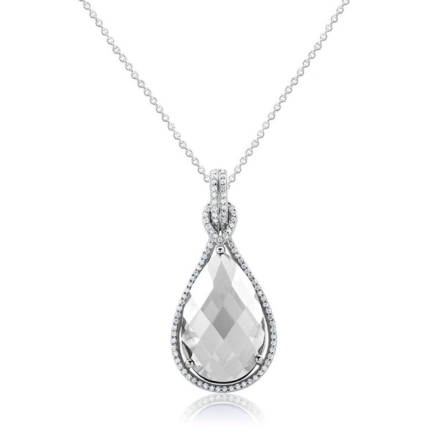 Sterling Silver Cubic Zirconia Tear Drop Necklace - 4 Colors