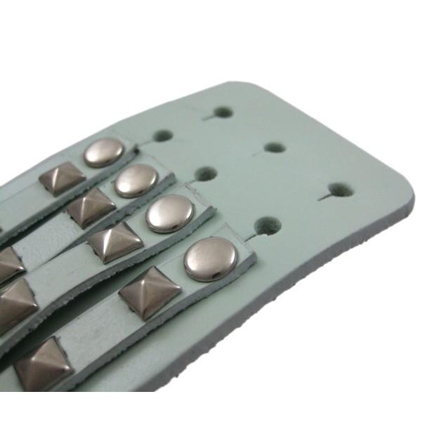 Gray Leather 4 Row Pyramid Studded Wristband Mens Leather Bracelets