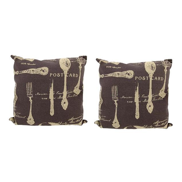 Pair Of Brown Canvas French Cuisine Postcard Theme Throw Pillows