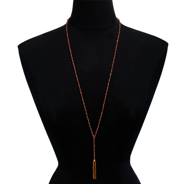 14k Yellow Gold 58 Carat Ruby Y Bar Strand Necklace