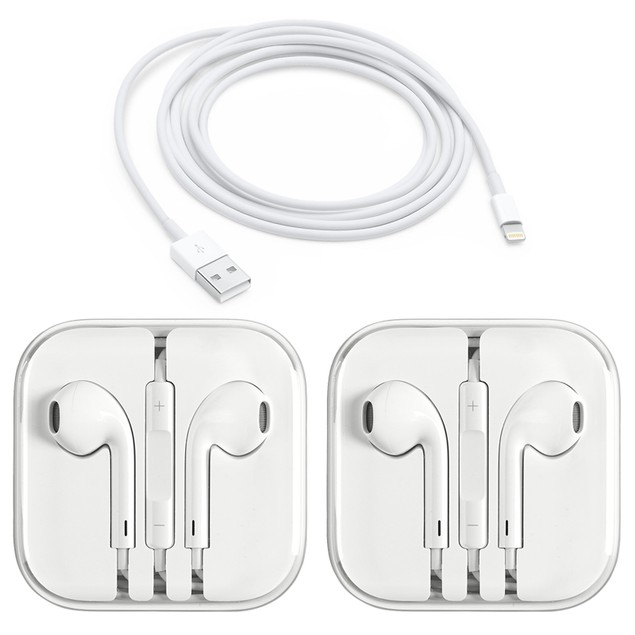 [2-Pack] Apple Original Earpods Earphones (3.5mm Jack) + Apple Original Lightning Cable