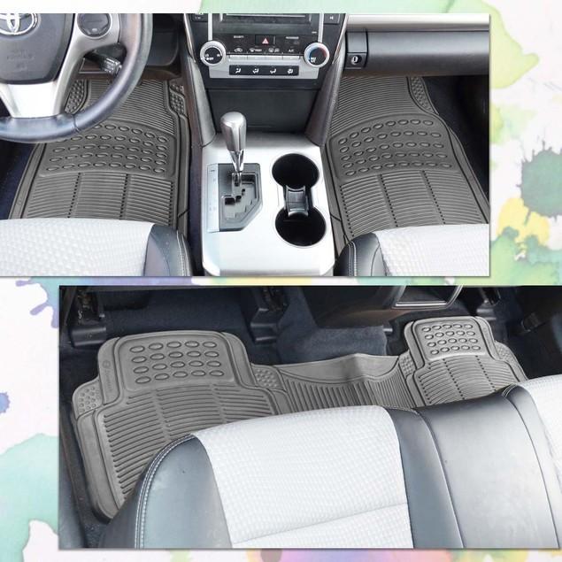Zone Tech 3 Row 4 Piece Gray Universal Rubber All Weather Car Floor Mats