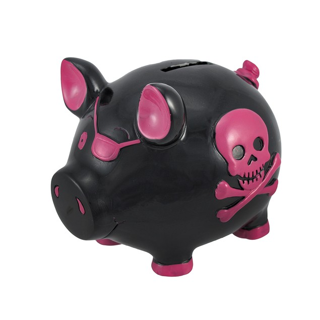 Black Pirate Pig Pink Skull Crossbones Piggy Bank Toy Banks