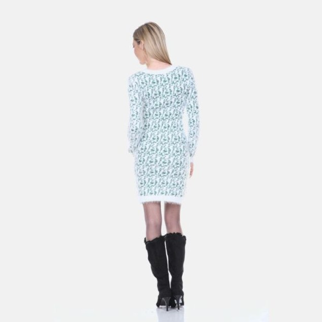 White Mark Green Leopard Sweater Dress