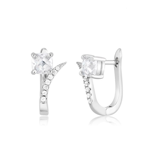 Whispy Sterling Silver Cubic Zirconia Huggie Earrings