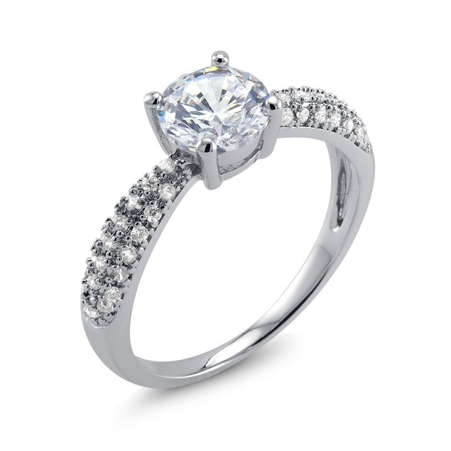 Elegant White Gold Plated Cubic Zirconia Ring