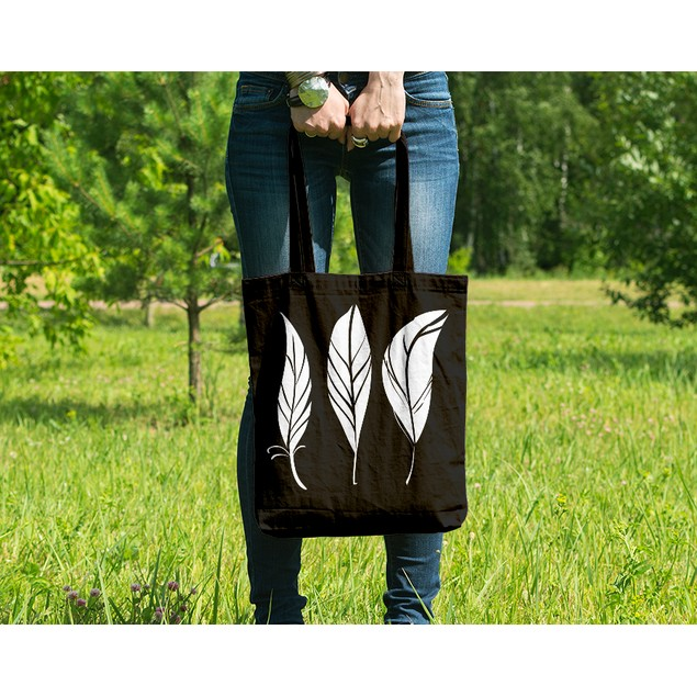Feathers Black Tote Bag