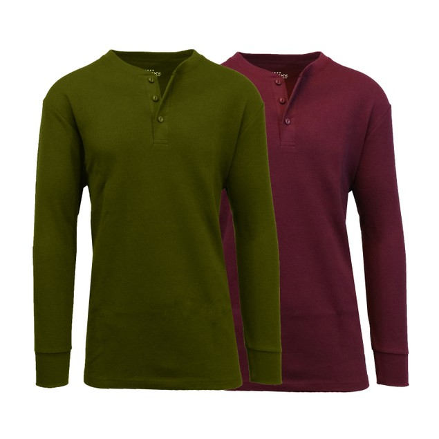 2-Pack Men's Waffle-Knit Thermal Henley Tees