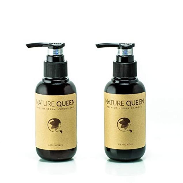 Nature Queen Herbal Shampoo And Conditioner Set, Repair + Volumize, 3.4 Oz