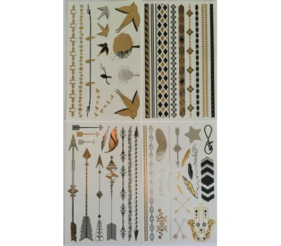 Temporary Tattoos 4 Pages Of Black Silver And Gold Tattoo Jewelry
