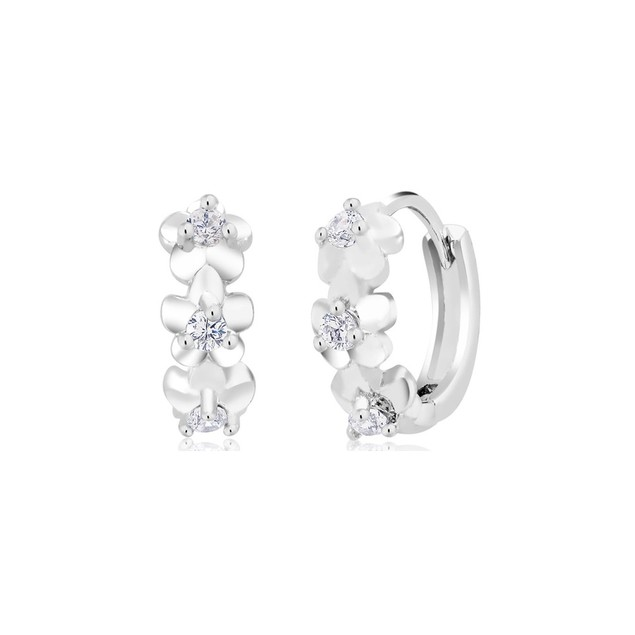 Cubic Zirconia 3 Flower Huggie Earrings