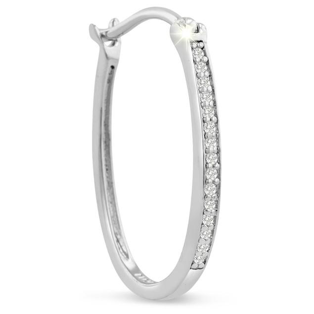 1/4ct Oval Shape Diamond Hoop Earrings
