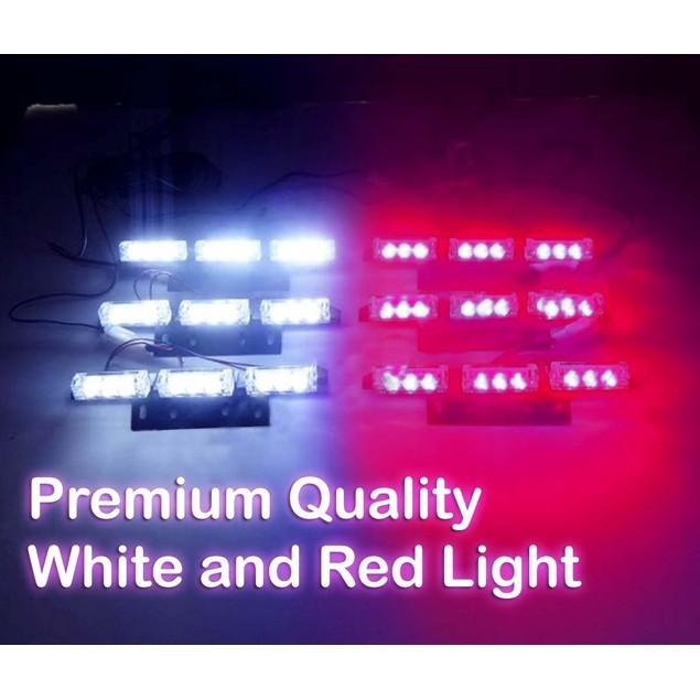 Zone Tech 54 LED Emergency Warning Strobe Light White/Red Windshield Grille