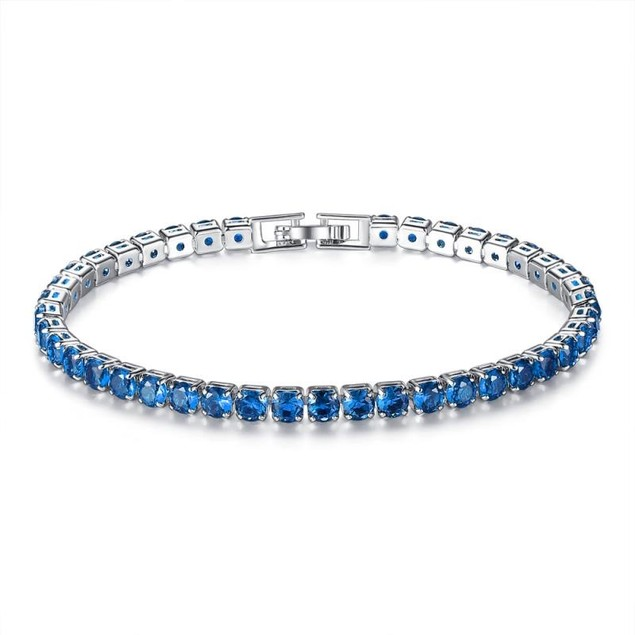 18k White Gold Plated Round Cut Tennis Bracelet- Emerald or Sapphire