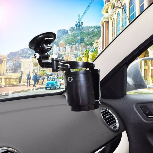 Zone Tech Recessed Sturdy Folding Vehicle Adjustable Drink Car Cup Holder