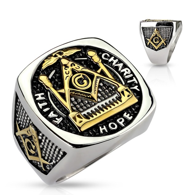 Men's Stainless Steel Faith Hope Charity Masonic Ring