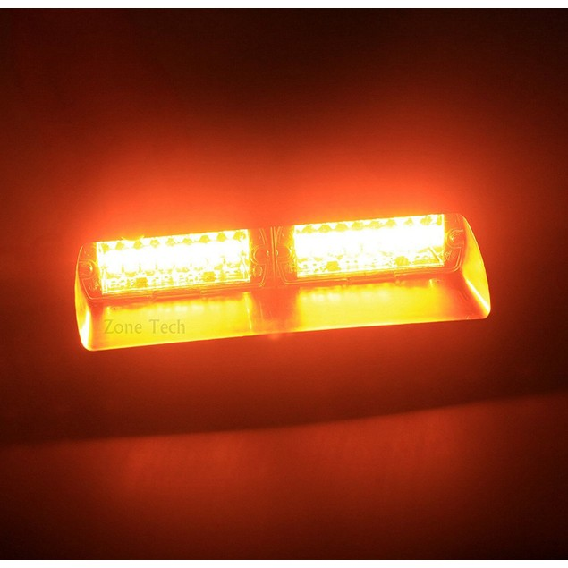 Zone Tech 16 LED Emergency Car Dash Warning Strobe Flash Light Amber