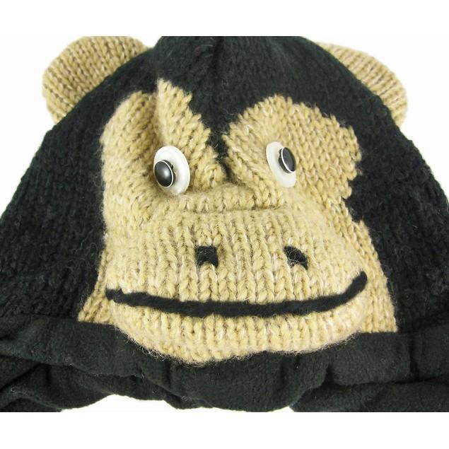 Wool Black / Tan Chimpanzee Pilot Cap W/ Pom Poms Womens Cold Weather Hats