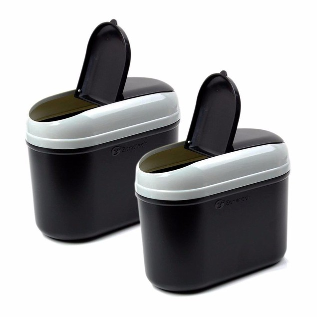 Zone Tech Black Universal Traveling Mini Portable Car Trash Can Litter Bin
