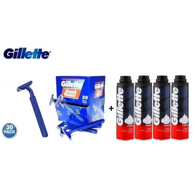 30-Pack Gillette Disposable Razors + 4-Pack Gillette Foamy Regular