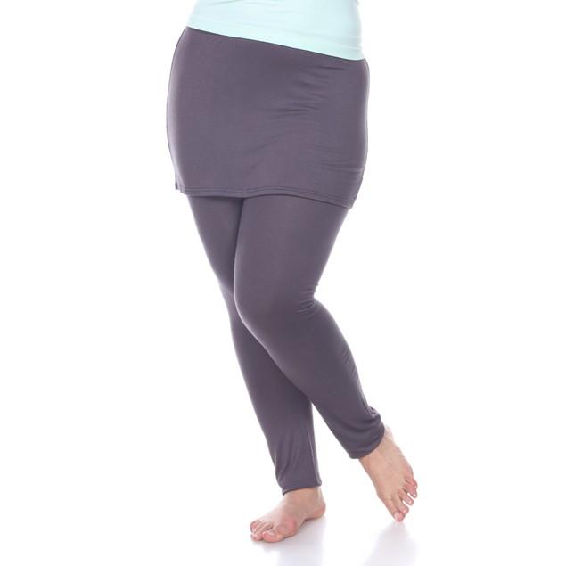 White Mark Women's Plus Size Skirted Leggings