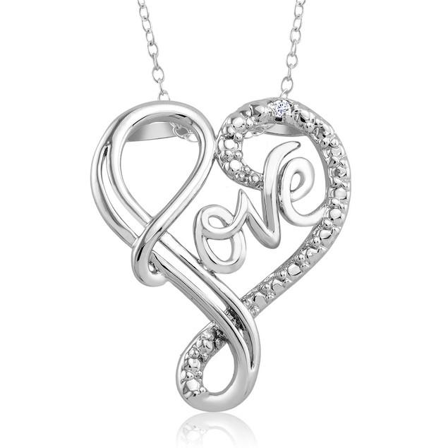 1/10 CTW Diamond Accent Necklace - Fancy Love