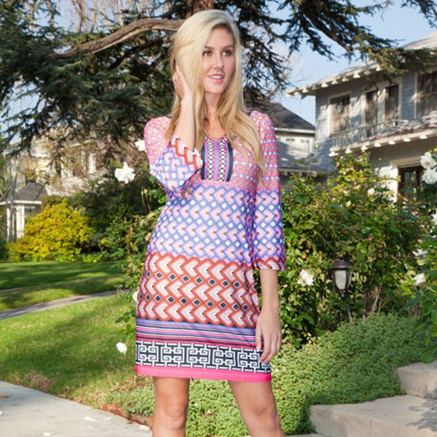 Audrey Pink and Purple Printed Dress
