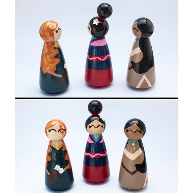Set Of 4 Disney Inspired Princess Peg Dolls Bellechic