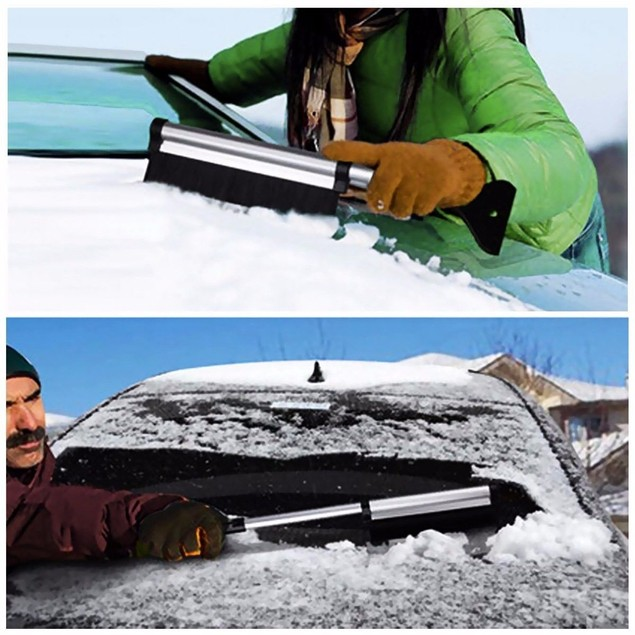 "Zone Tech 2x Extendable Telescopic Ice Scraper Snow Brush Extends 17""-24"""