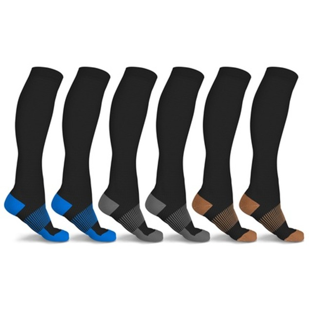 6-Pairs xFit Copper-Infused Knee-High Compression Socks