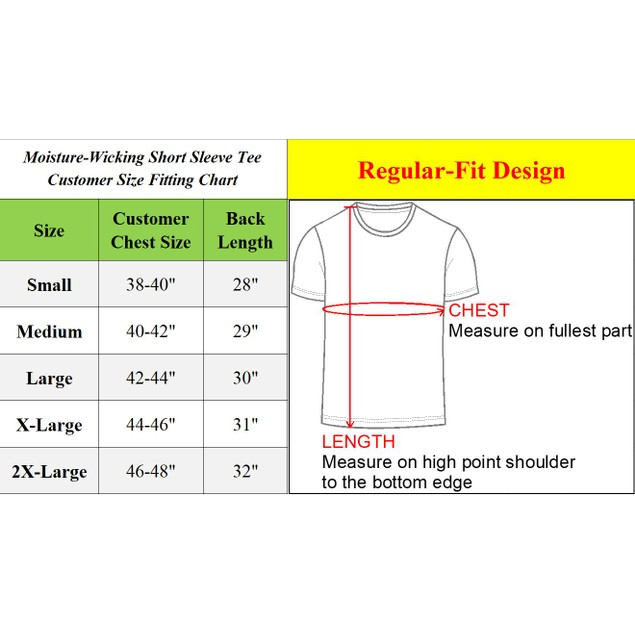 6-Pack Men's Moisture Wicking Short Sleeve Tee (Sizes, S-2XL)