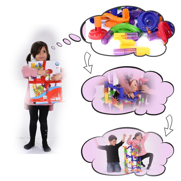 BritenWay Large Marble Run Toy Set for Kids (117-Piece Set)