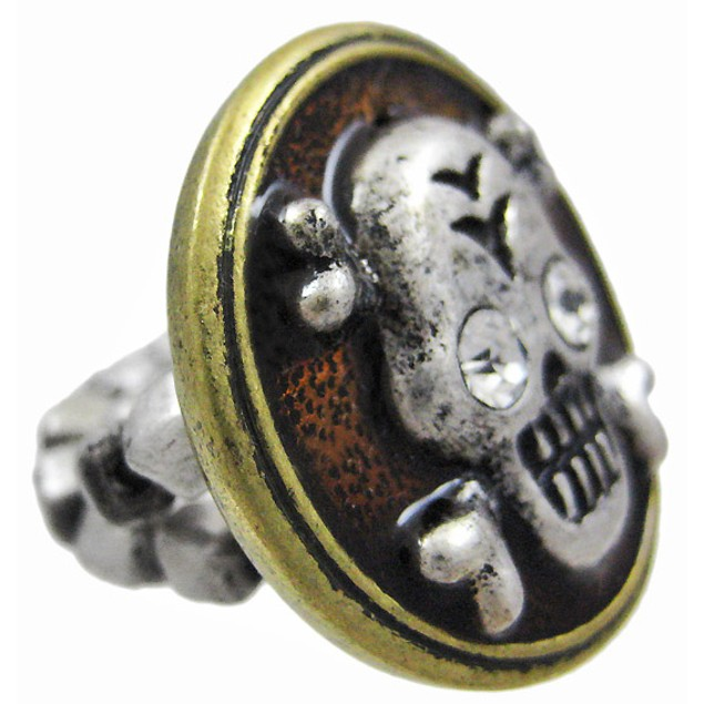 Pewter & Brass Skull & Crossbones Stretch Ring Womens Rings