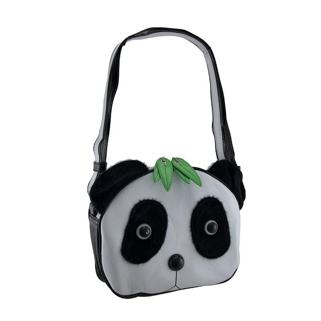 Panda Bear Face Cross Body Handbag W/Faux Fur Eyes Womens Cross Body Bags