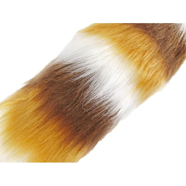 Brown, Tan  White Striped Fox Tail W/ Clip Faux Fox Tails