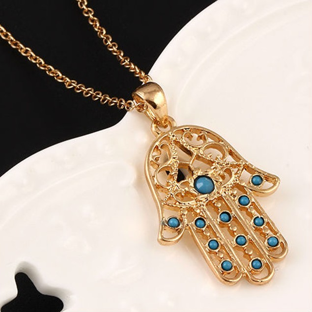 Gold Plated Beaded Hamsa Necklace