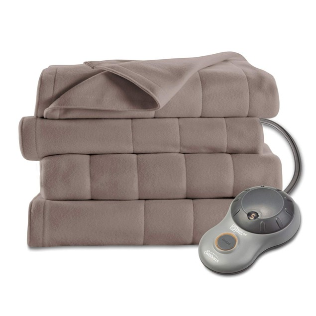Sunbeam Heated Blanket | 10 Heat Settings, Quilted Fleece, Mushroom, Full
