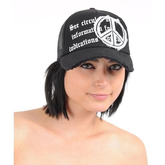 Black Peace Fashion Mesh Hat New