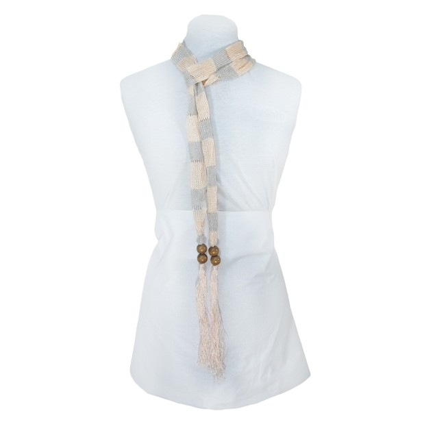 Peach And Metallic Silver Skinny Knit Scarf Sash Womens Fashion Scarves