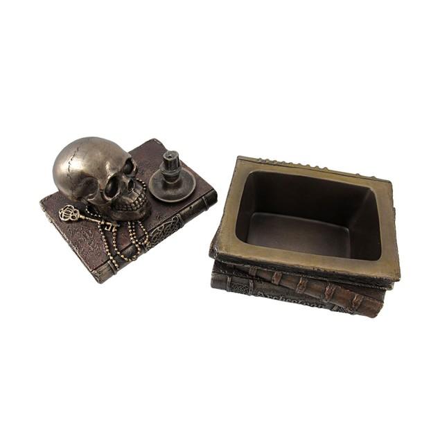Bronze Wizard`S Study Books And Skull Trinket Decorative Boxes