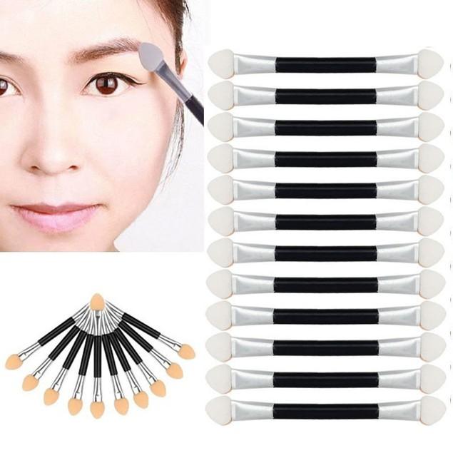 12-Pack Makeup Double-End Eye Shadow Eyeliner Brush Sponge Applicator Tool