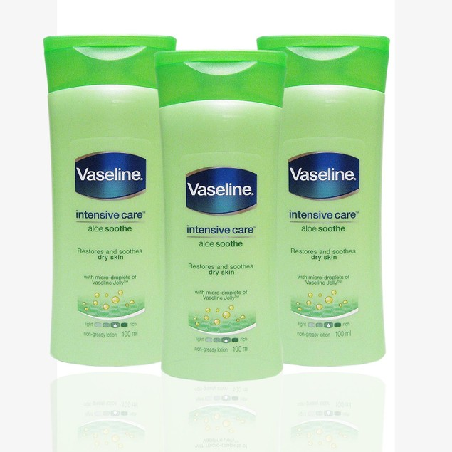 3-Pack Vaseline Intensive Care Aloe Restores and Soothes Dry Skin