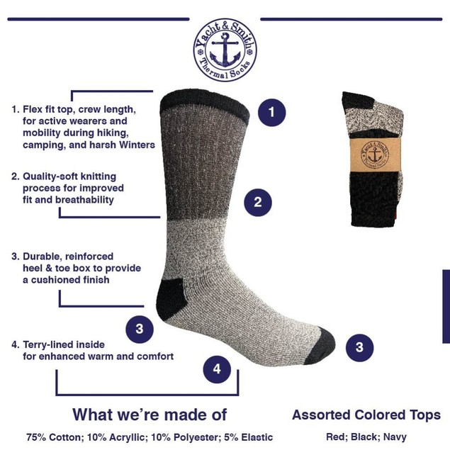 6-Pack Unisex Insulated Thermal Lounge Crew Socks