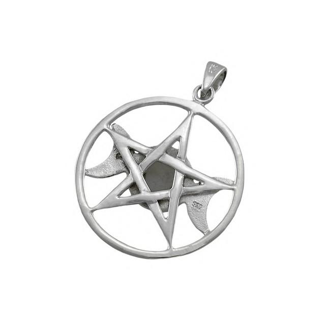 Sterling Silver Triple Moon Pentacle Pendant W/ Womens Pendants