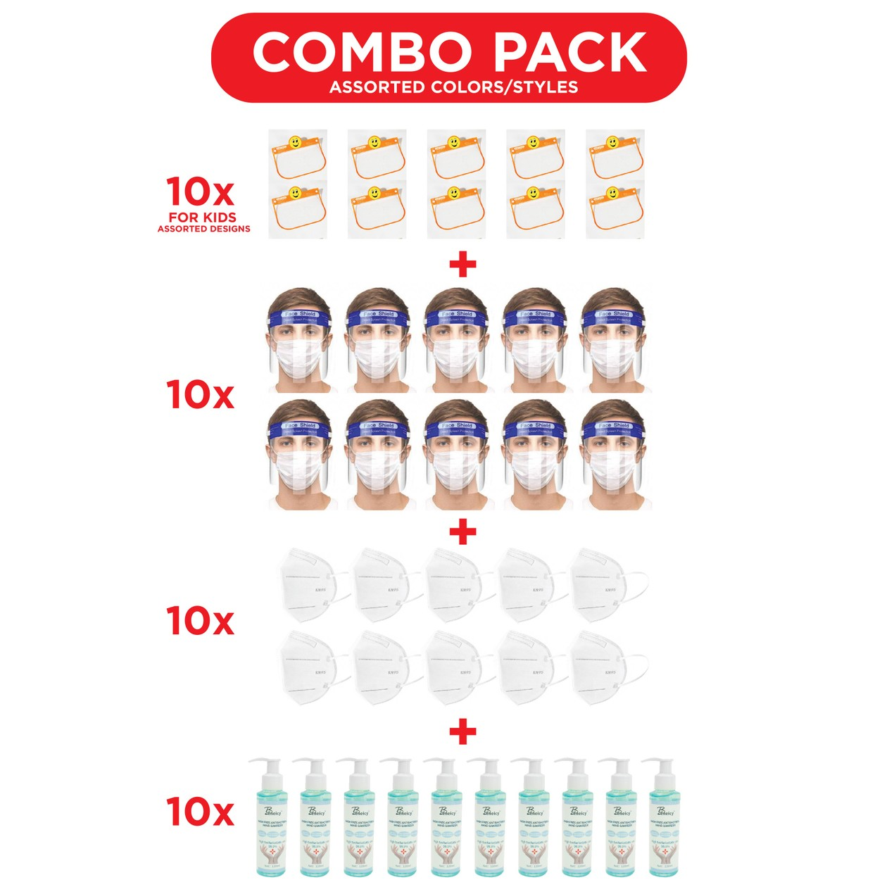 10-Pack Kids Shields With 10-Pack Kn95 Masks & 10-Pack 120 Ml Sanitizer