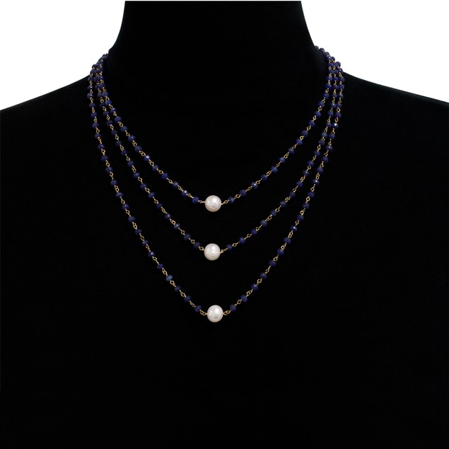 """14k Gold 41ct Blue Sapphire and Pearl Triple Strand Necklace, 20"""""""