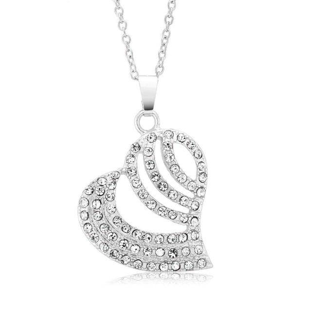 Cubic Zirconia Striped Heart Drop Necklace