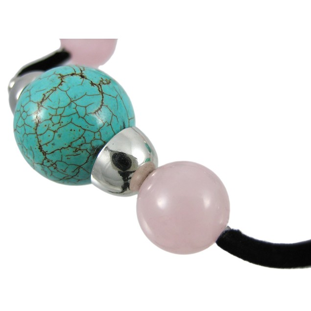 Round Turquoise & Rose Quartz Stretch Bracelet Womens Stretch Bracelets